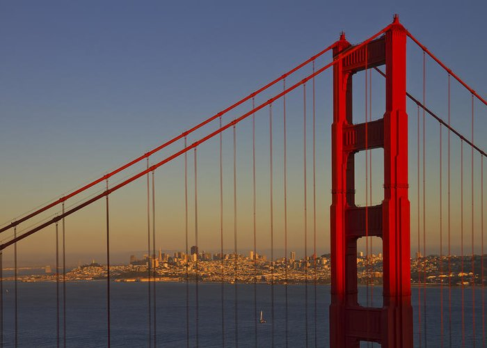 America Greeting Card featuring the photograph Golden Gate Bridge At Sunset by Melanie Viola