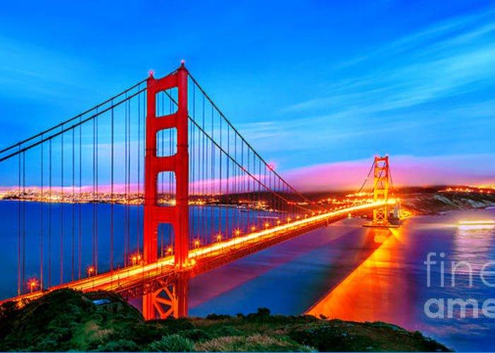 Golden Gate Bridge Greeting Card featuring the photograph Follow The Golden Trail by Az Jackson