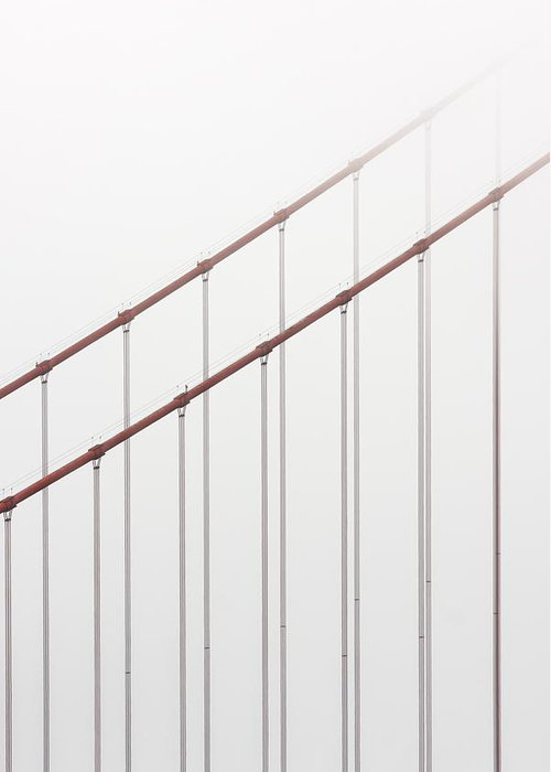 Scenics Greeting Card featuring the photograph Golden Gate Bridge Cable Fog by Chuckschugphotography