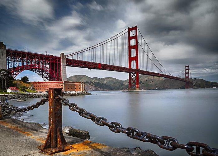 California Greeting Card featuring the photograph Golden Gate Bridge by Eduard Moldoveanu