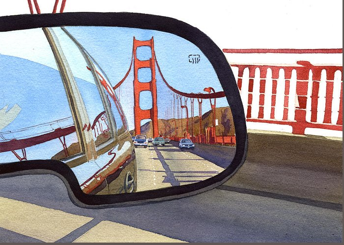 California Greeting Card featuring the painting Golden Gate Bridge In Side View Mirror by Mary Helmreich