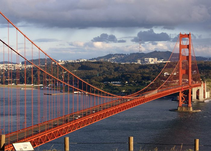 Golden Gate Bridge Greeting Card featuring the photograph Golden Gate Bridge Overlook by Tim Atwater