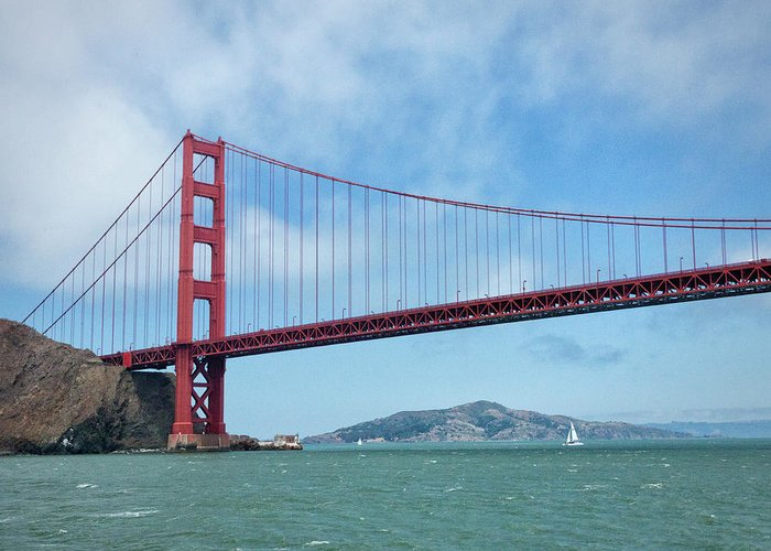 Sailboat Greeting Card featuring the photograph Golden Gate Bridge, San Francisco by Elisabeth Pollaert Smith