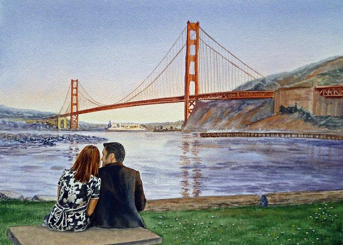 San Francisco Greeting Card featuring the painting Golden Gate Bridge San Francisco - Two Love Birds by Irina Sztukowski