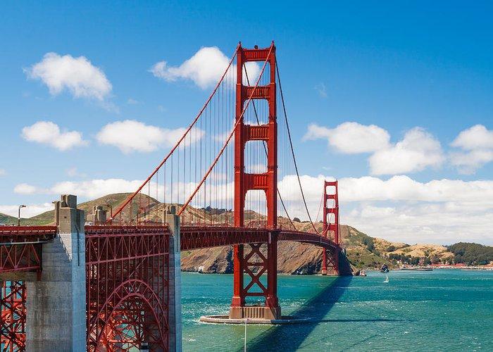 Golden Gate Bridge Greeting Card featuring the photograph Golden Gate Bridge by Sarit Sotangkur