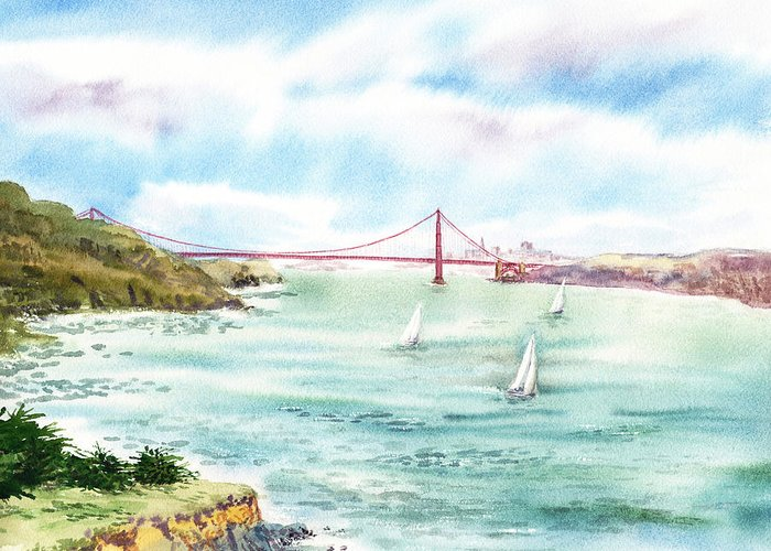 San Francisco Greeting Card featuring the painting Golden Gate Bridge View From Point Bonita by Irina Sztukowski