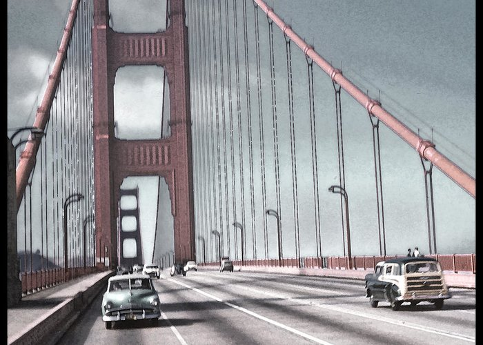 Golden Gate Bridge Greeting Card featuring the photograph Golden Gate Crossing by Eric Bjerke Sr