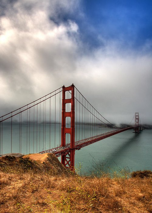 California Greeting Card featuring the photograph Golden Gate In The Clouds by Peter Tellone