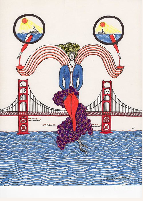 San Francisco Greeting Card featuring the drawing Golden Gate Lady And Wine by Michael Friend