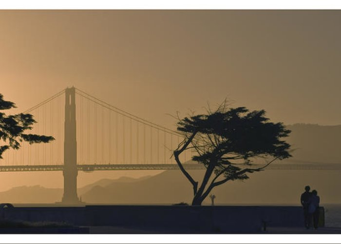 Luxury Greeting Card featuring the photograph Golden Gate Lovers by Gene Norris