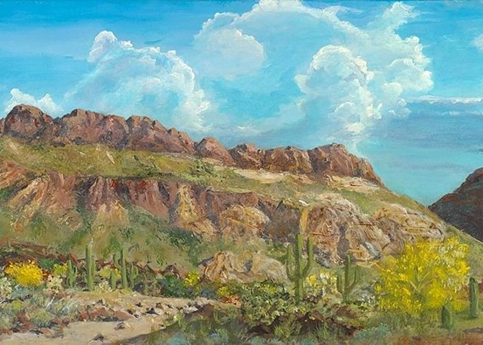 Cliffs Greeting Card featuring the painting Golden Gate Mountain by John Wise