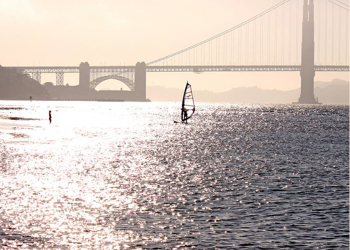 Golden Gate Bridge Greeting Card featuring the photograph Golden Gate Surf by Shandel Gauthier