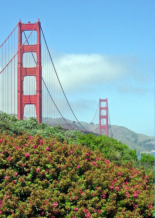 Golden Gate Bridge Greeting Card featuring the photograph Golden Gate by Suzanne Gaff