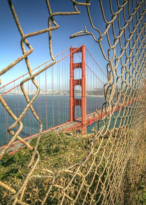 Golden Gate Greeting Card featuring the photograph Golden Gate Through The Fence by Scott Norris