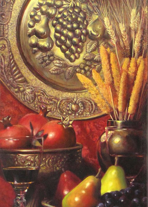 Wine Still Life Greeting Card featuring the painting Golden Harvest With Red Wine by Takayuki Harada