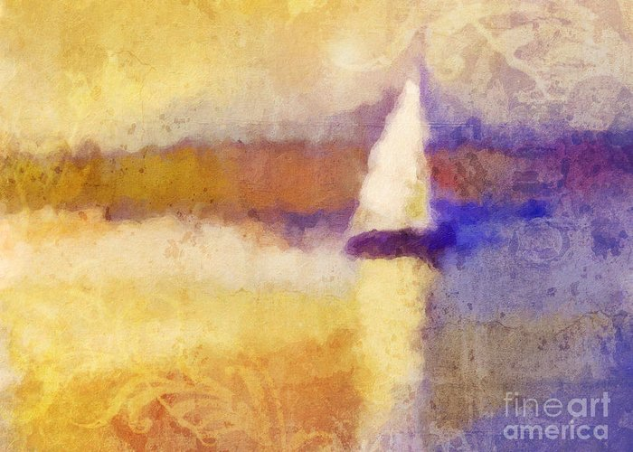 Seascape Greeting Card featuring the painting Golden Hour Sailing by Lutz Baar