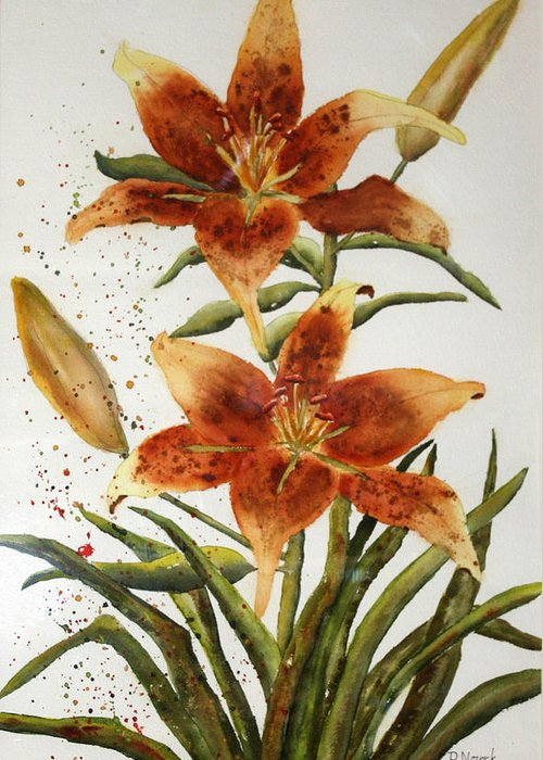 Lilies Greeting Card featuring the painting Golden Lilies by Patricia Novack