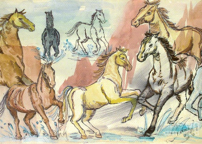 Horses Greeting Card featuring the painting Golden Mare by Carol Oufnac Mahan