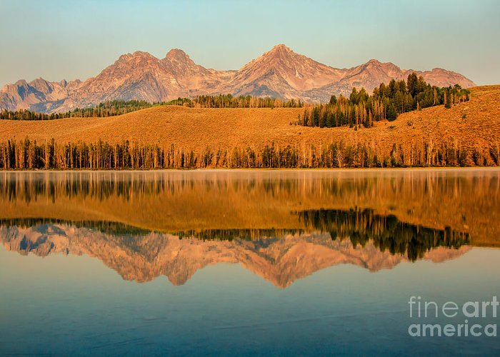 Rocky Mountains Greeting Card featuring the photograph Golden Mountains Reflection by Robert Bales