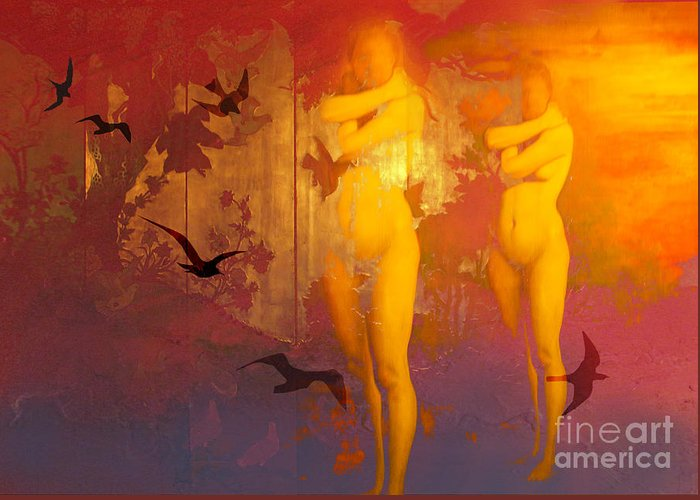 Buildings Greeting Card featuring the digital art Golden Nakedness by Angelika Drake
