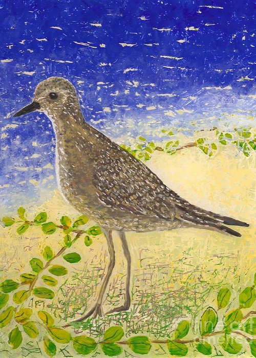 Hawaii Birds Greeting Card featuring the painting Golden Plover by Anna Skaradzinska