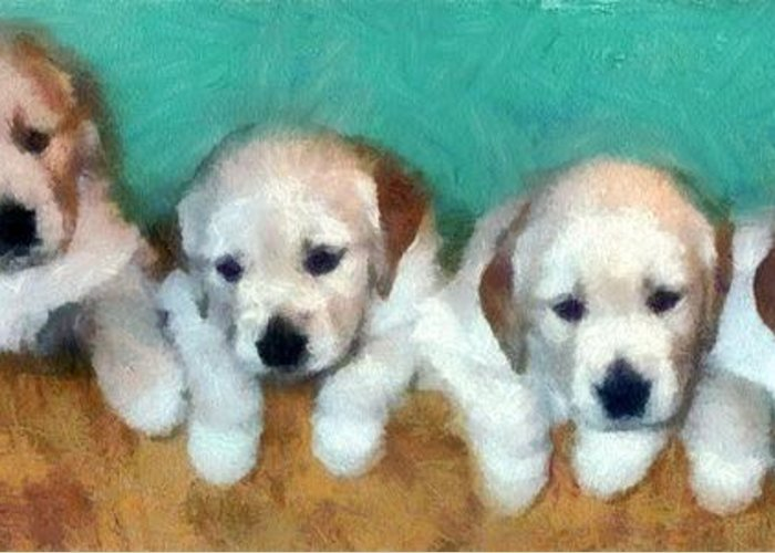 Golden Retriever Greeting Card featuring the photograph Golden Puppies by Michelle Calkins