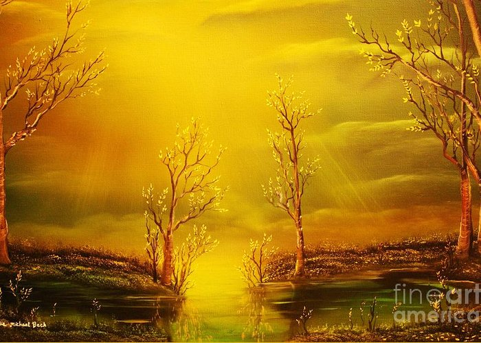 Golden Greeting Card featuring the painting Golden Rays-original Sold-buy Giclee Print Nr 35 Of Limited Edition Of 40 Prints by Eddie Michael Beck