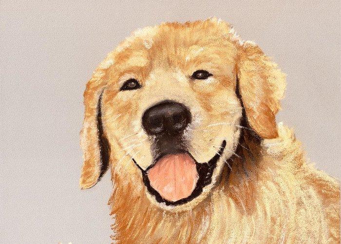 Sheepdog Greeting Card featuring the painting Golden Retriever by Anastasiya Malakhova
