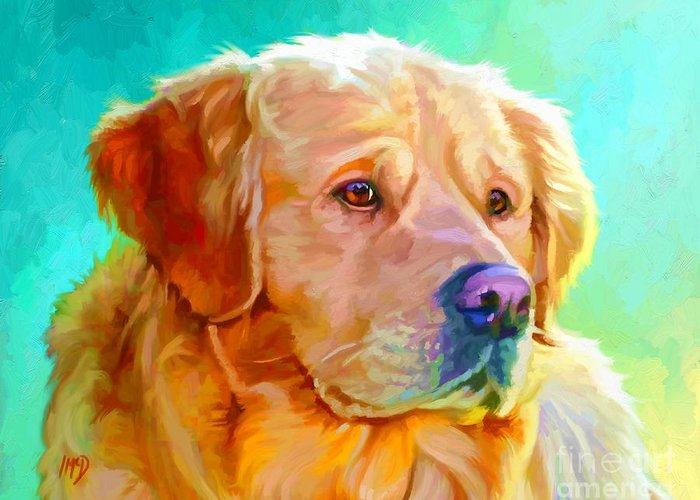 Dog Paintings Greeting Card featuring the painting Golden Retriever Art by Iain McDonald