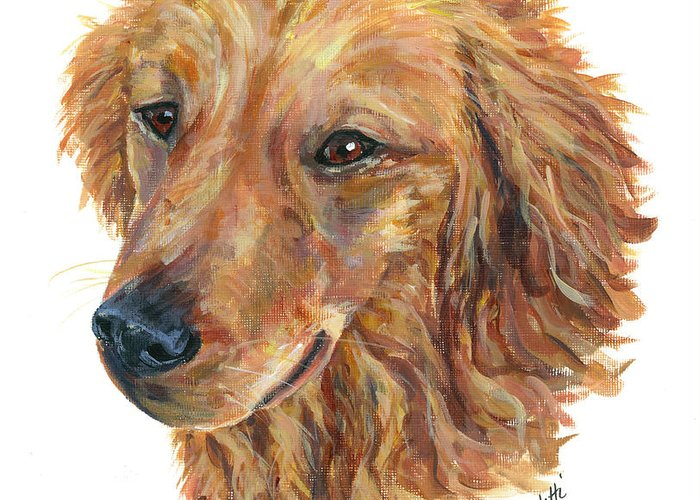 Golden Retriever Greeting Card featuring the painting Golden Retriever by Barb Capeletti