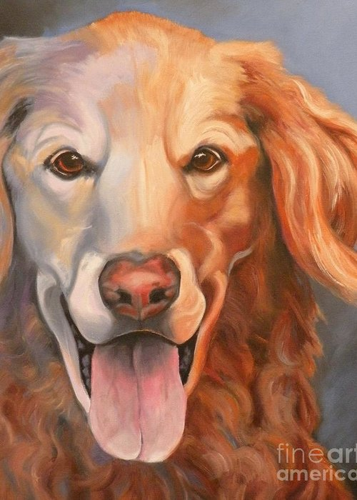 Dogs Greeting Card featuring the painting Golden Retriever Till There Was You by Susan A Becker
