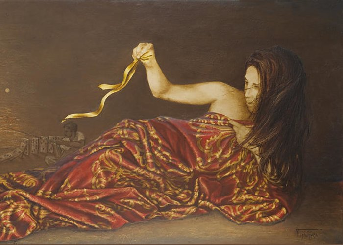 Gold Greeting Card featuring the painting Golden Ribbon by Sobobak