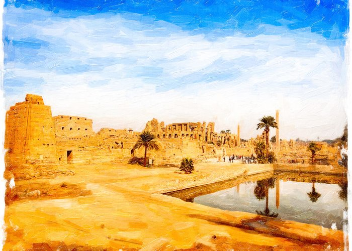 Karnak Temple Greeting Card featuring the photograph Golden Ruins Of Karnak by Mark E Tisdale