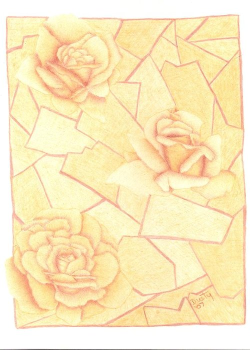 Rose Greeting Card featuring the drawing Golden Sand Roses by Dusty Reed