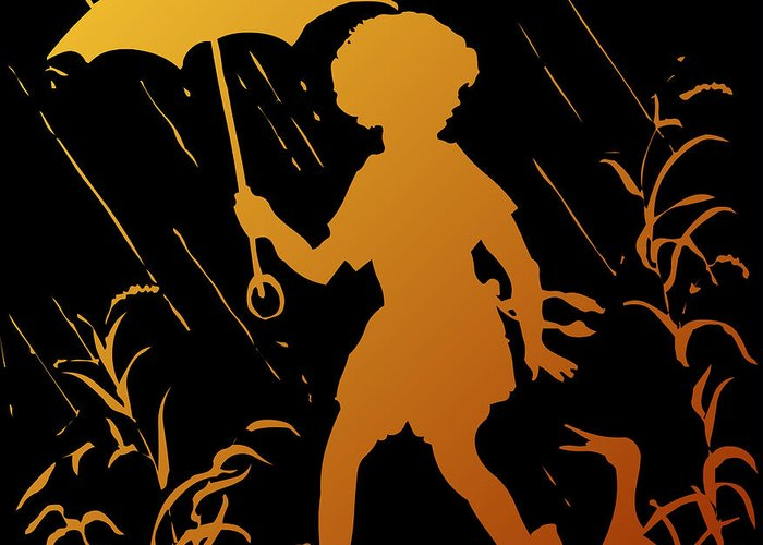 Walking In The Rain Greeting Card featuring the digital art Golden Silhouette Of Child And Geese Walking In The Rain by Rose Santuci-Sofranko