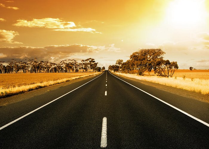 Golden Sky Greeting Card featuring the photograph Golden Sky And Road by Boon Mee