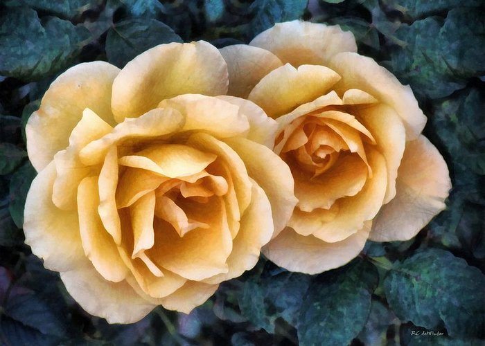 Roses Greeting Card featuring the painting Golden Smoke by RC DeWinter
