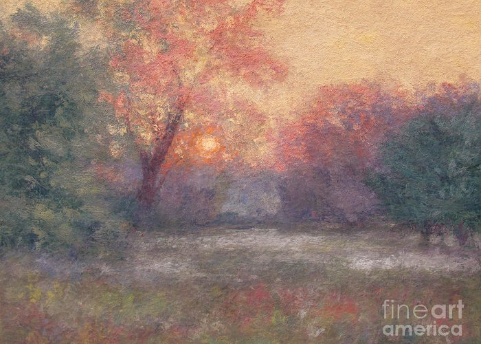 Sunrise Greeting Card featuring the painting Golden Sunrise - June by Gregory Arnett