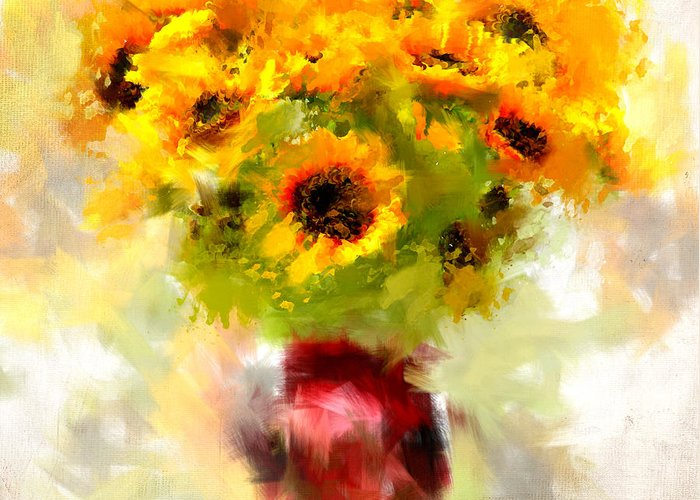 Bouquet Of Sunflowers Greeting Cards
