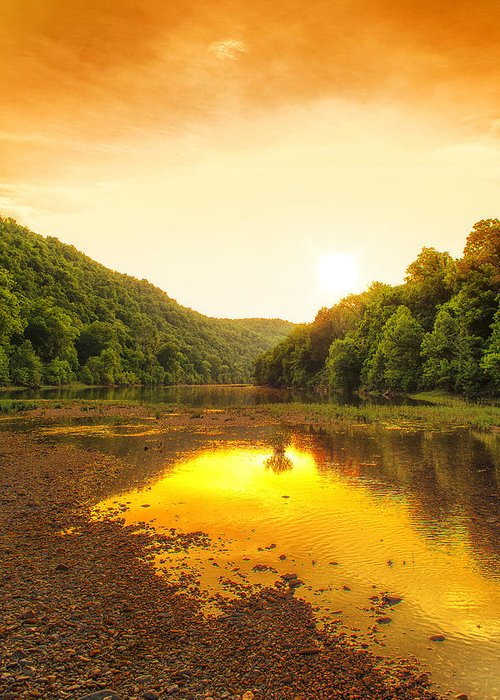 Sunset Greeting Card featuring the photograph Golden Sunset On Buffalo River by Bill Tiepelman