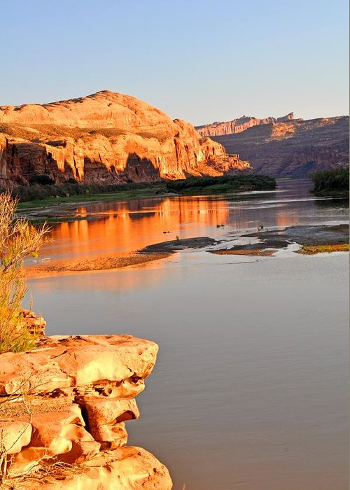 Sunset Greeting Card featuring the photograph Golden Sunset On The Colorado by Marty Koch
