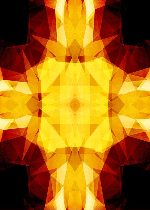 Gold Greeting Card featuring the digital art Golden Textured Triangles by Phil Perkins