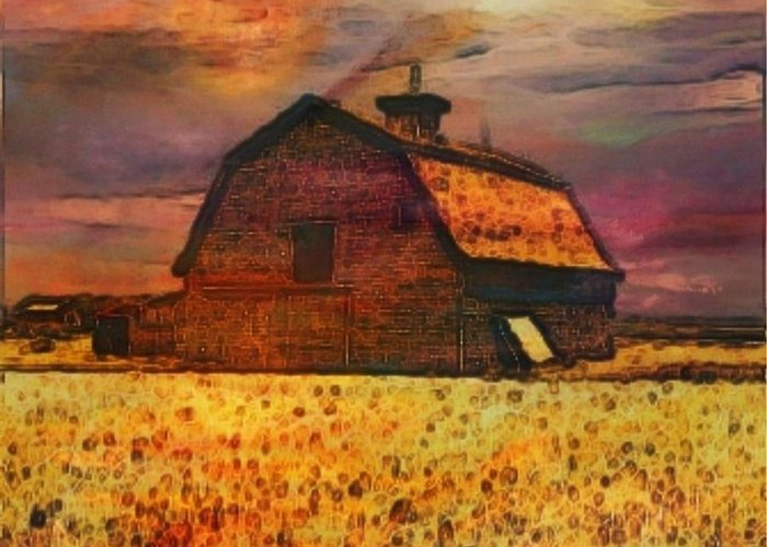 Golden Wheat Sunset Barn Painting Greeting Card featuring the painting Golden Wheat Sunset Barn by PainterArtist FIN