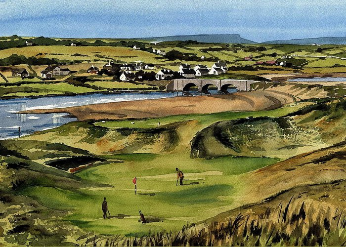 Val Byrne Greeting Card featuring the painting Clare Golf At Lahinch Gc by Val Byrne