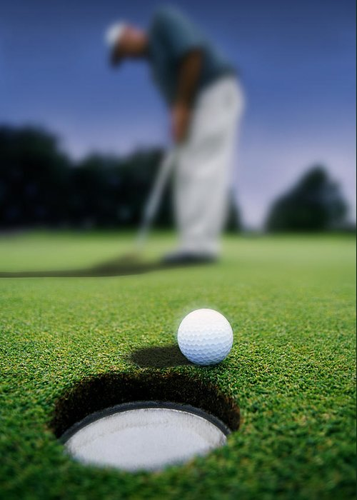 Day Greeting Card featuring the photograph Golf Ball Near Cup by Darren Greenwood