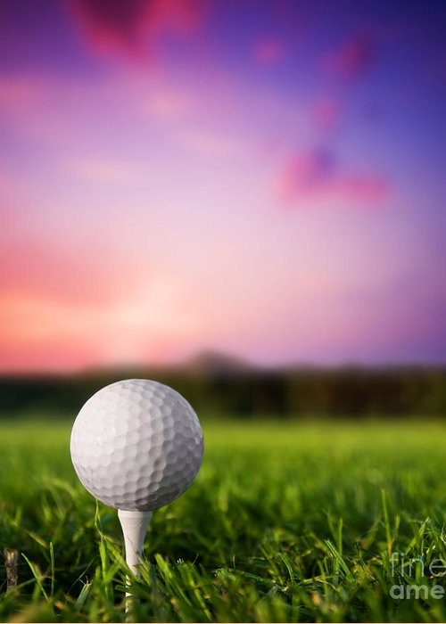 Ball Greeting Card featuring the photograph Golf Ball On Tee At Sunset by Michal Bednarek