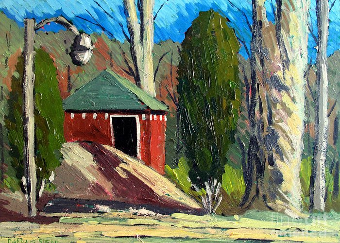 Golf Course Greeting Card featuring the painting Golf Course Shed Series No.14 by Charlie Spear