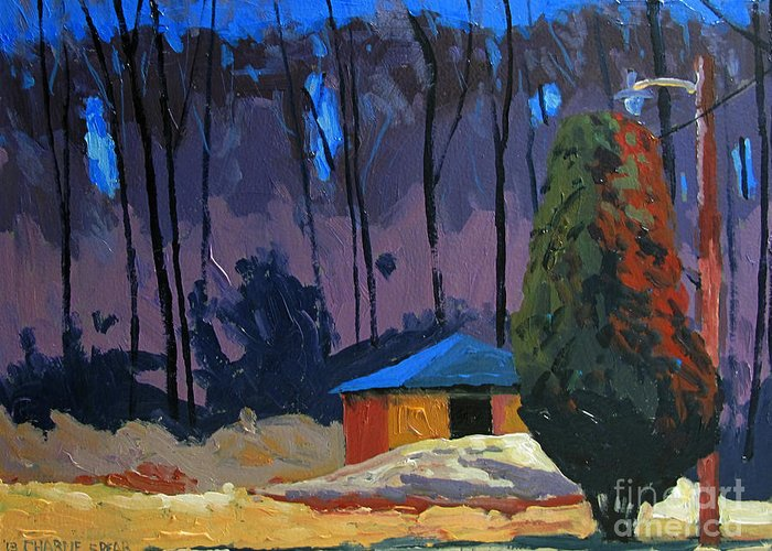 Golf Course Greeting Card featuring the painting Golf Course Shed Series No.2 by Charlie Spear