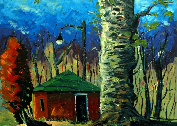 Landscape Greeting Card featuring the painting Golf Shed Series No 17 by Charlie Spear