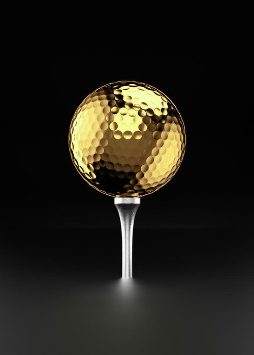 Two Objects Greeting Card featuring the photograph Golfball And Alluminium Golf Tee by Atomic Imagery